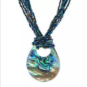 Jewelry - ABALONE SHELL PENDANT IRIDESCENT BEADED NECKLACE